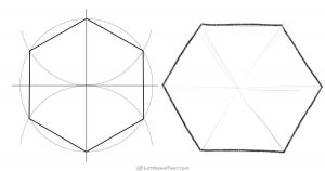 How to draw a hexagon: construction and hand-drawn - step by step drawing tutorial