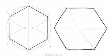 How to Draw a Hexagon: Using Compass and Hand-drawn - step-by-step-drawing tutorial featured image