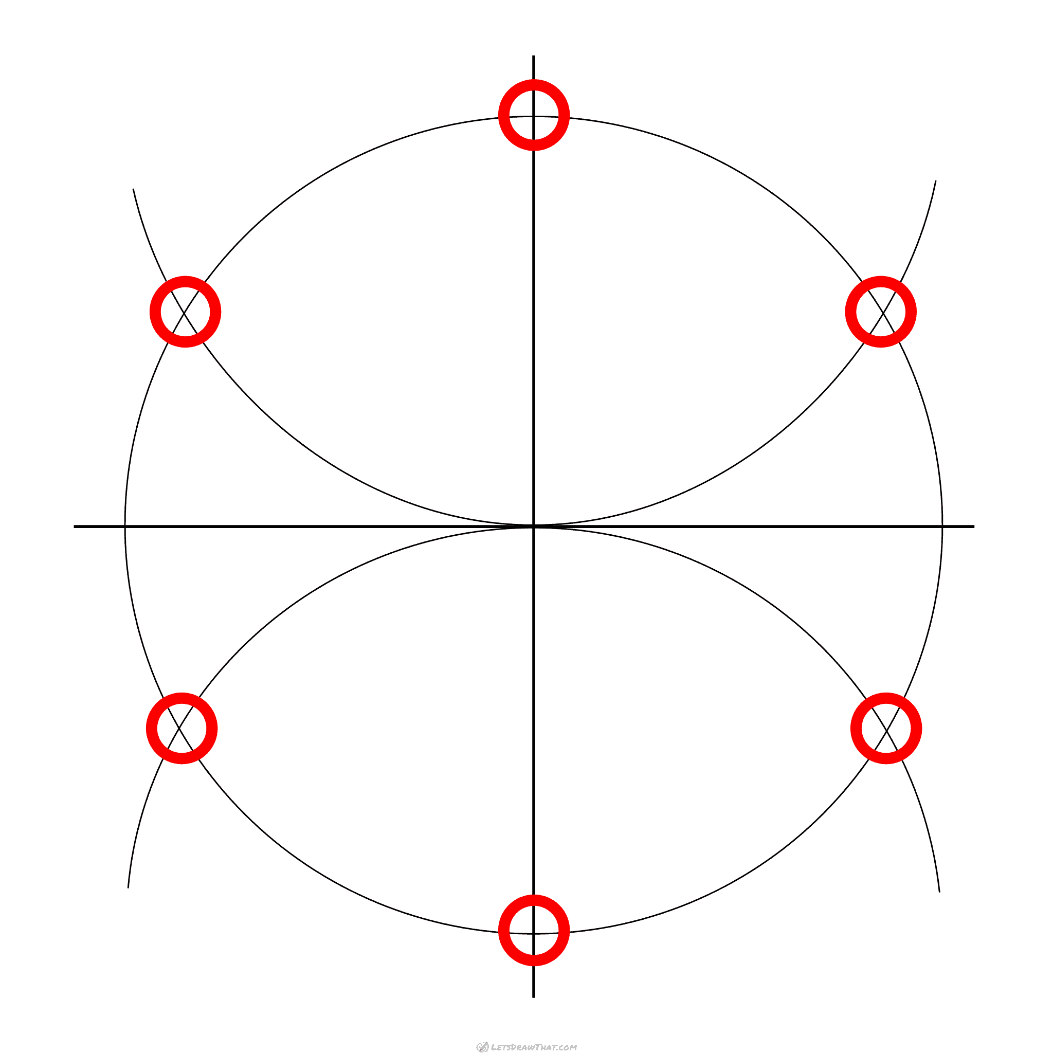 Connect the marked points to draw a hexagon