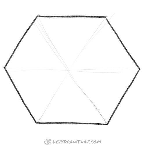 How to draw a hexagon by hand: completed drawing