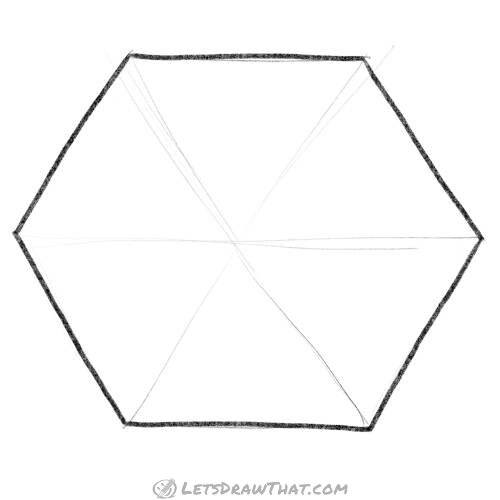 How to draw a hexagon by hand (without a compass)