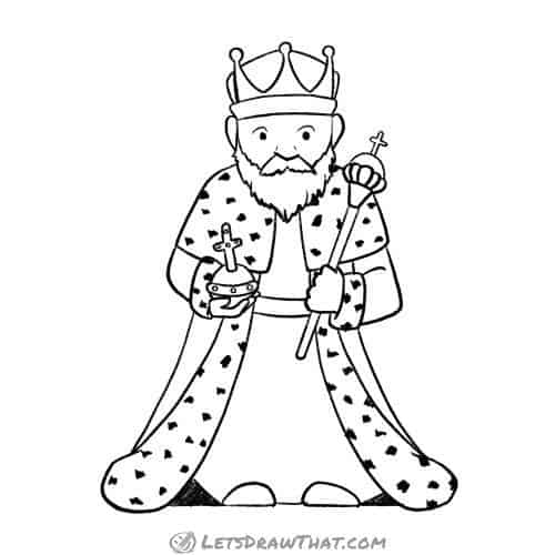 How to draw a king - complete outline drawing