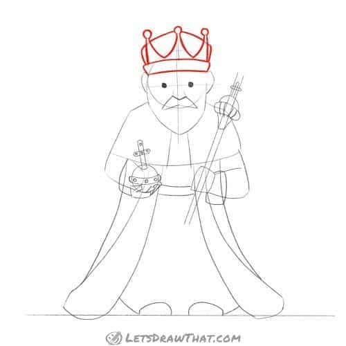 Drawing step: Draw the king's crown