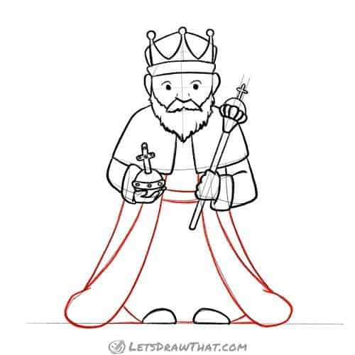 Drawing step: Outline the rest of the king's clothing
