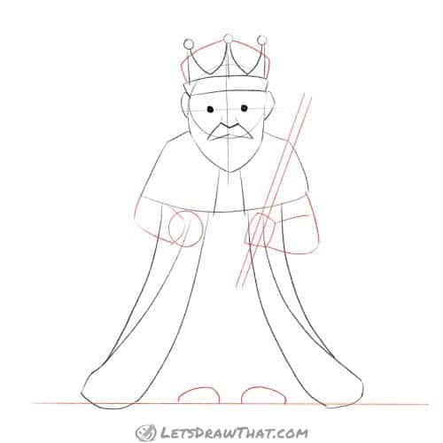 Drawing step: Sketch in the king's arms, add legs and finish the crown