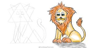 How to draw a lion from a simple triangle sketch - step-by-step-drawing tutorial featured image