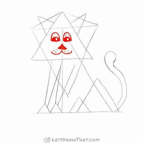 Draw the lion's face