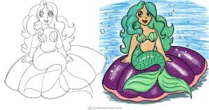 How to draw a mermaid: step by step drawing tutorial