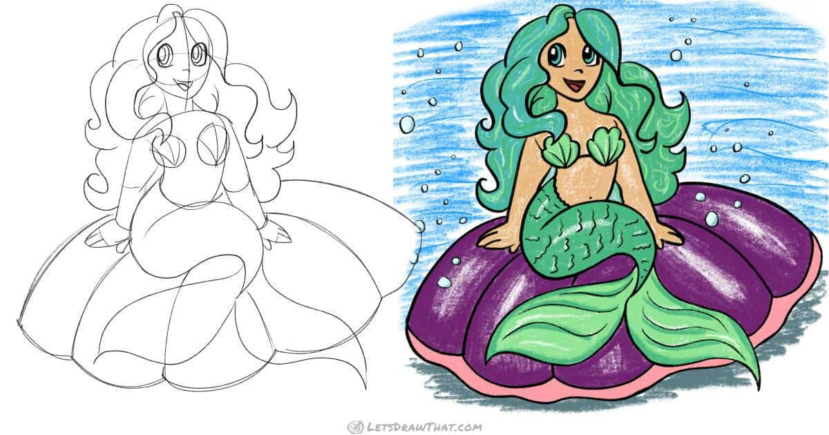How to draw a mermaid: step by step - step-by-step-drawing tutorial featured image