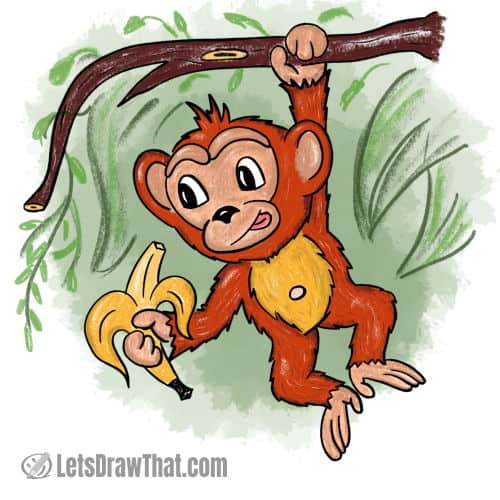 How to draw a monkey: finished drawing coloured-in