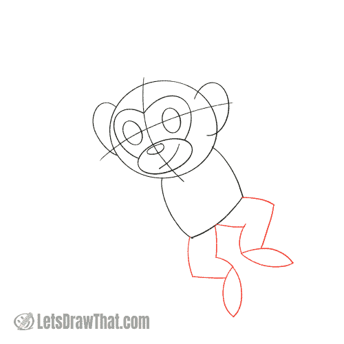 Drawing step: Sketch the legs and feet
