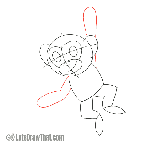 Drawing step: Sketch the monkey's arms