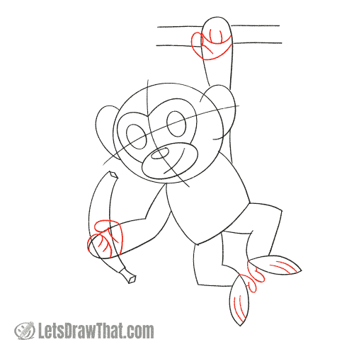 Drawing step: Sketch the hands and feet