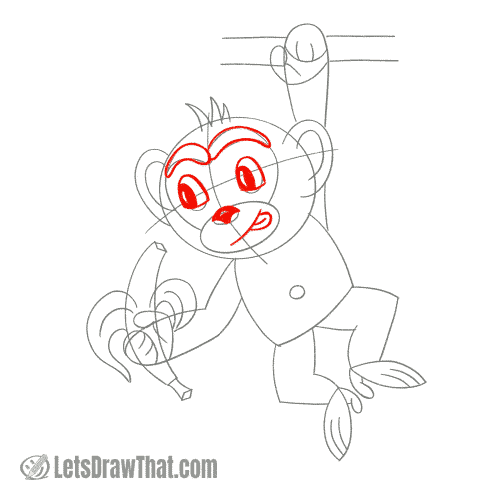 Drawing step: Outline the monkey's face