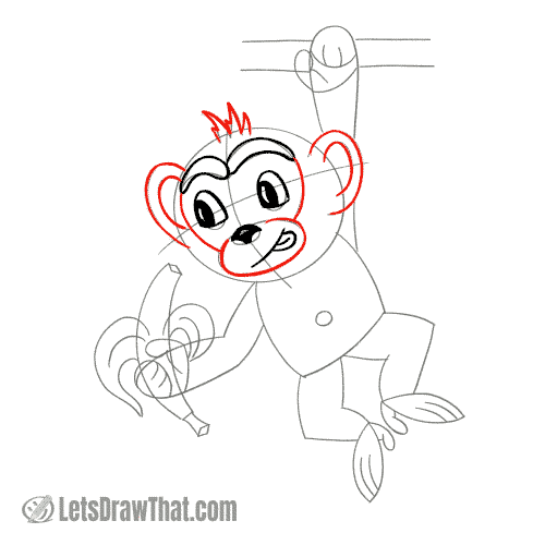 Drawing step: Draw monkey's ears and face mask