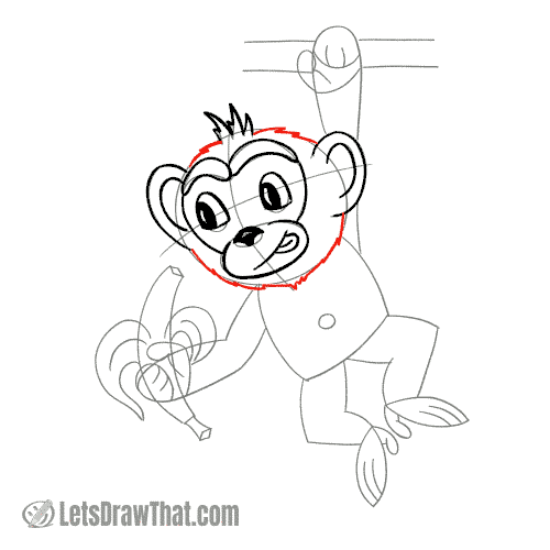 Drawing step: Draw the monkey's head