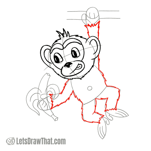 Drawing step: Draw the monkey's body
