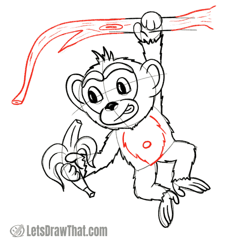 Drawing step: Draw tree branch and tummy