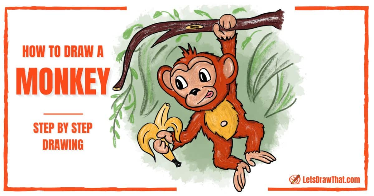 How to draw a monkey: cute cartoon chimpanzee - step-by-step-drawing tutorial featured image