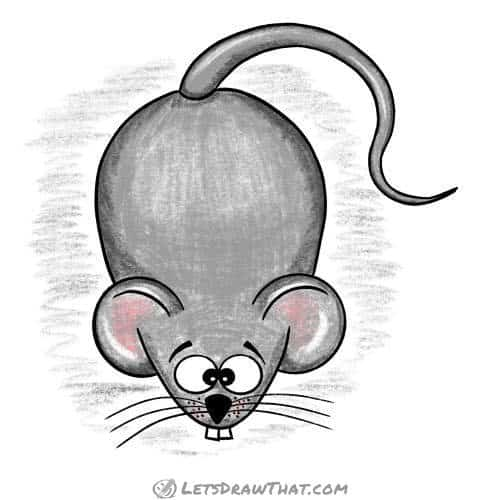 Easy mouse drawing: finished and coloured-in