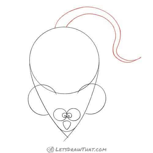 Drawing step: Draw the mouse's tail