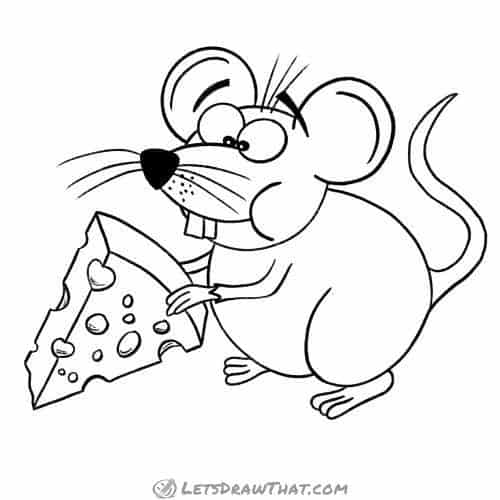 How to draw a mouse: finished outline drawing