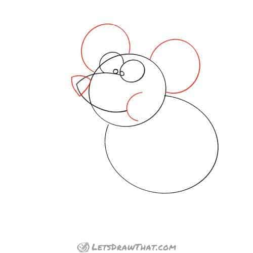 Drawing step: Draw the mouse's ears and cheek