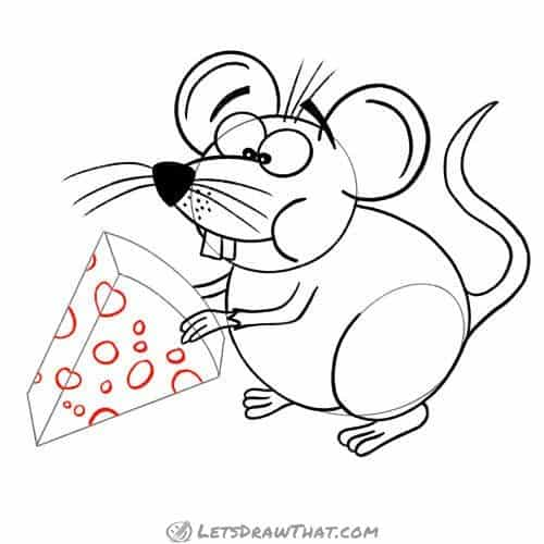 Drawing step: Draw the cheese holes