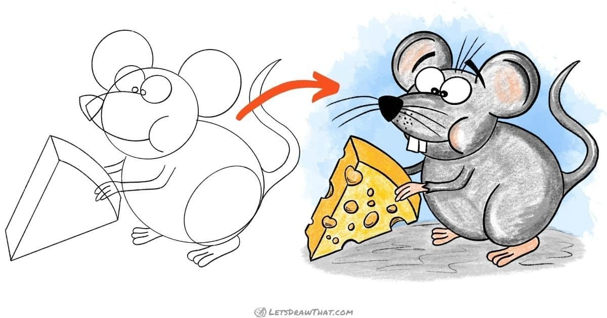 How to draw a mouse - step-by-step-drawing tutorial featured image