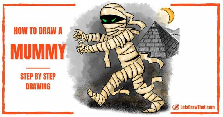 How To Draw a Mummy - A Spooky Cartoon Mummy Drawing - step-by-step-drawing tutorial featured image