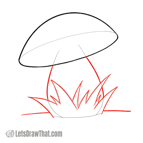 Drawing step: Outline the grass and the stem