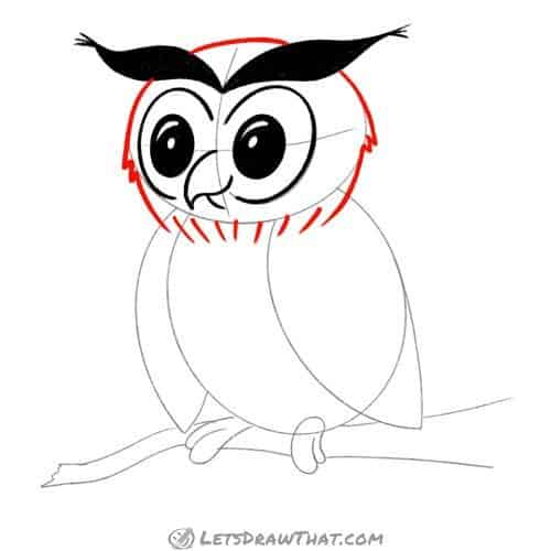 Drawing step: Draw the owl's head