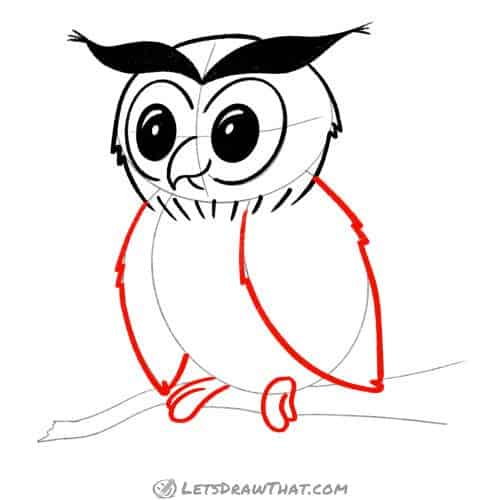 Drawing step: Draw the owl's wings and feet