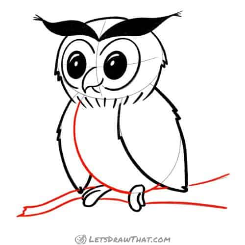 Drawing step: Finish drawing the owl's body and the tree