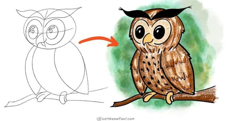 How to draw an owl - simple and cute - step-by-step-drawing tutorial featured image