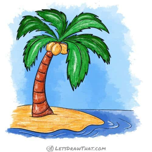 How to draw a palm tree: finished drawing coloured-in