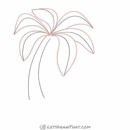 Drawing step: Draw the palm leaves