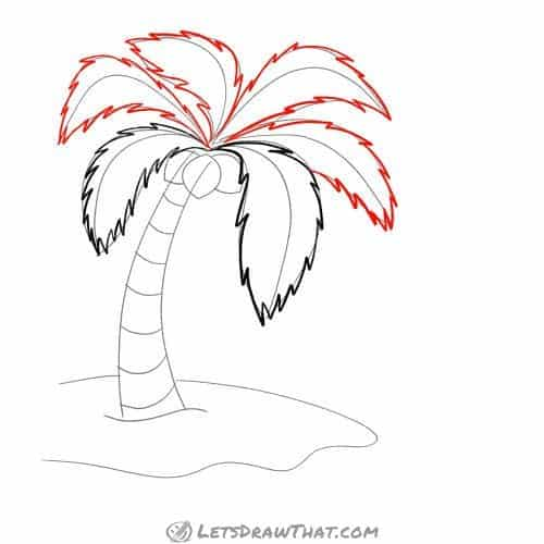 Drawing step: Finish drawing the remaining palm leaves