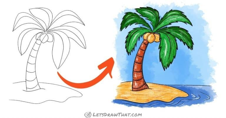 How To Draw A Palm Tree: Easy Awesome Palm Tree Drawing - step-by-step-drawing tutorial featured image