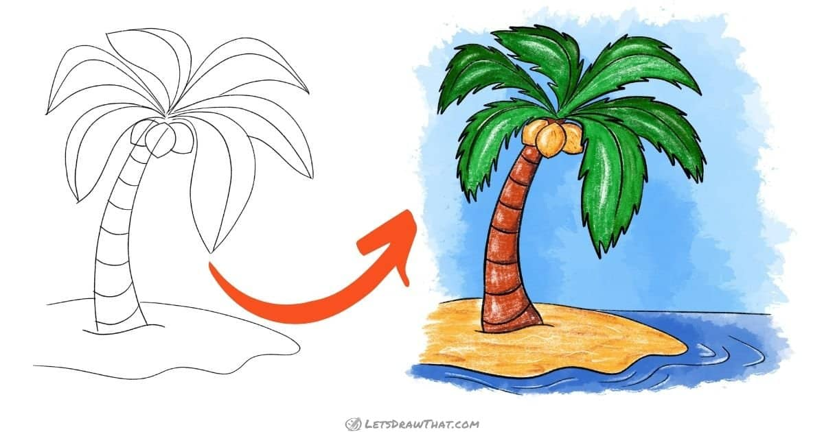 How To Draw A Palm Tree: Really Easy Yet Awesome Palm Tree Drawing (Step-By-Step) - step-by-step-drawing tutorial featured image