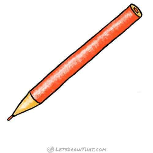How to draw a round pencil - completed coloured in drawing