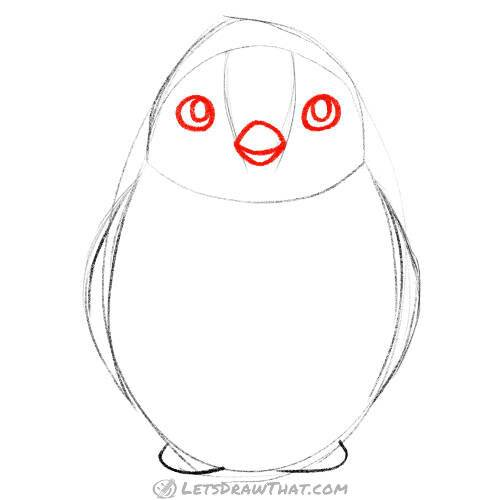Draw penguin's face
