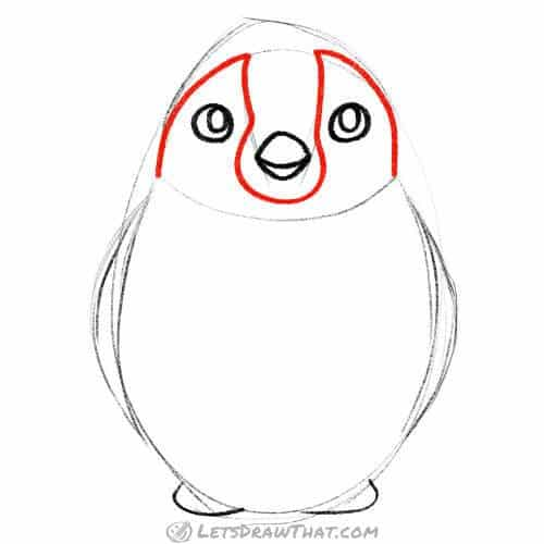 Draw the penguin's face markings
