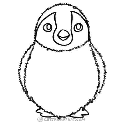 How to draw a penguin chick: completed pencil outline