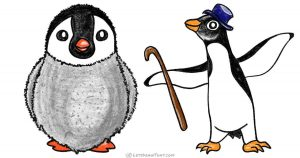 How to draw a penguin – young chick and an adult -step by step drawing tutorial