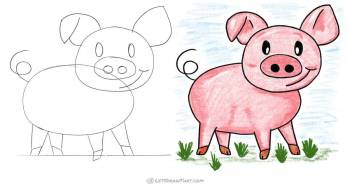 How To Draw A Pig: Happy Cartoon Pig Drawing (Step-by-Step) - step-by-step-drawing tutorial featured image