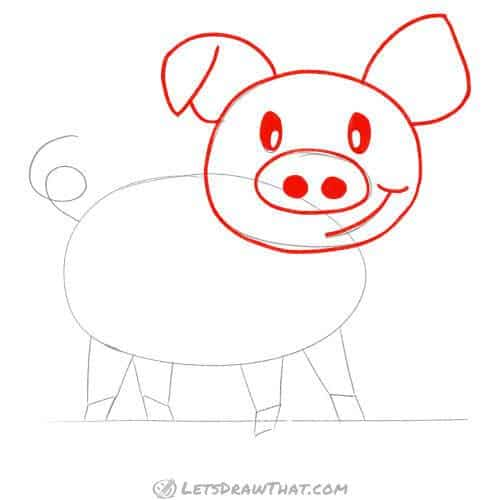 Outline the pig's head