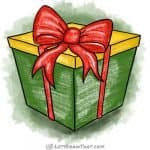 How to draw a present - complete coloured-in drawing