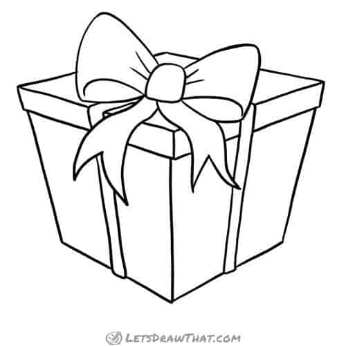 How to draw a present - complete outline drawing