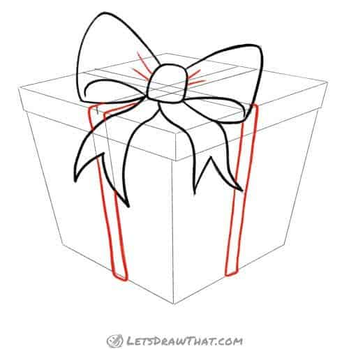 Drawing step: Draw the ribbon wrapped around the present